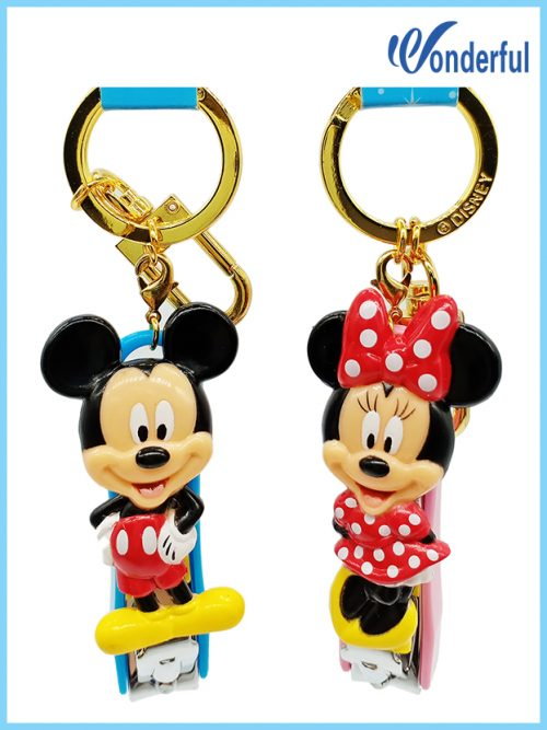 Mickey&Minnie keyrings,PVC figure nail clippers